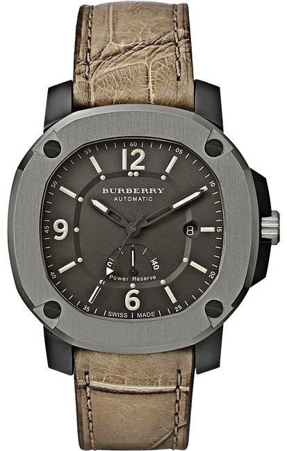 Burberry Olive Men The Britain Power Reserve Alligator Leather Bby1000 Watch Burberry Olive Men The Britain Power Reserve Alligator Leather Bby1000 Watch Image 1
