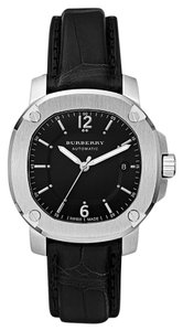 Burberry NWT Men The Britain Black Alligator Leather Automatic Watch BBY1200