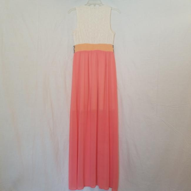 Cream and coral multi Maxi Dress by Flying Tomato