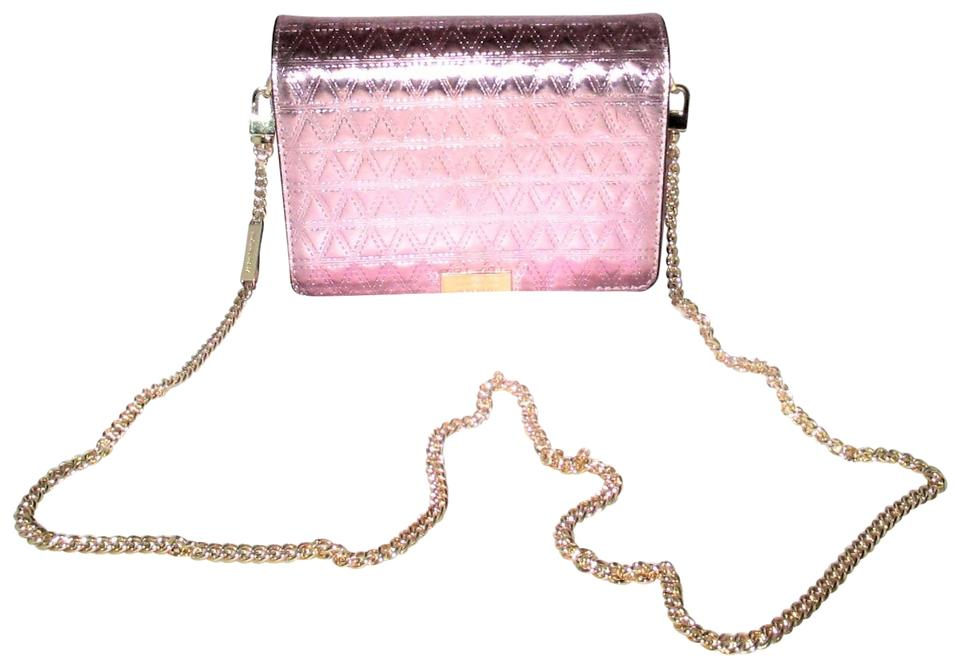 7e9a13520581 Michael Kors Jade Gusset Md Clutch Crossbody Soft Pink Embossed ...