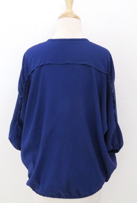 Ramy Brook Draped Dolman Sleeve 3/4 Sleeve Slash Neck Top purple