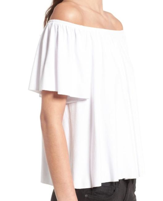 BP. Clothing Comfy + Cool Stretch Jersey Short Sleeves Raw Hem Dress Up Or Down Top White