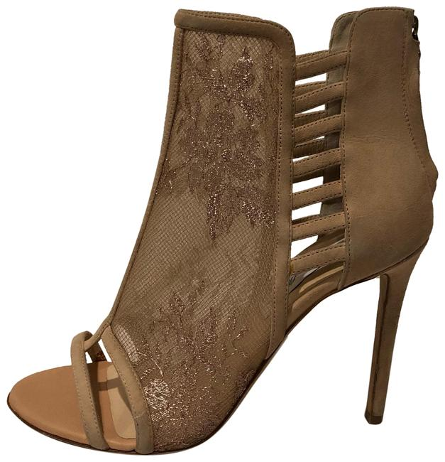 Item - Nude Blush New Floral Mesh Open Toe Leather Bootie Sandals Size EU 37 (Approx. US 7) Regular (M, B)