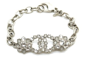 Chanel CC rare floral charms with textured silver chain hardware bracelet