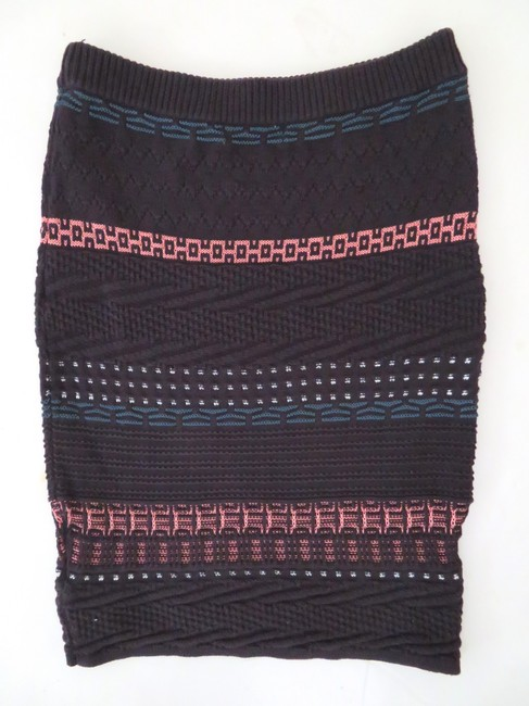 Opening Ceremony Striped Sweater Bodycon Knit Straight Mini Skirt purple