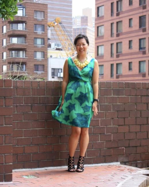 Anthropologie short dress Green Silk Print Summer Party Animal Print on Tradesy