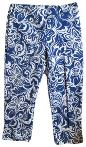 Chico's Floral Abstract Spring Summer Capri/Cropped Pants Multicolored