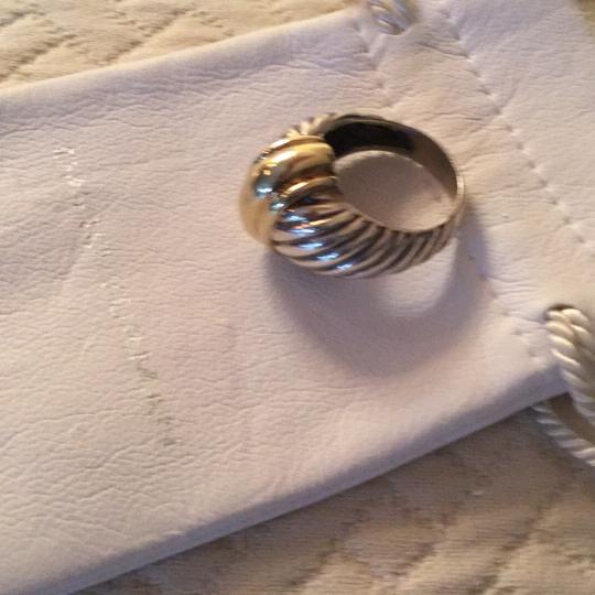 David Yurman Gold & Silver Ss/Gold Cable Dome Ring