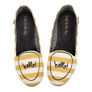 Loly In The Sky striped white and yellow Flats