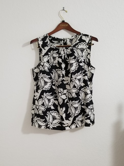 Talbots Floral Top Black and White