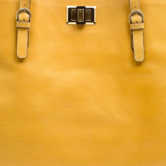 Lanvin Leather Flat Gold Tote in Yellow