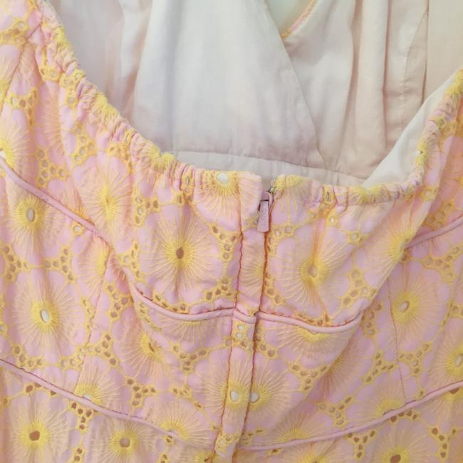 Lilly Pulitzer short dress pink and yellow Vintage Print Pretty Full Skirt on Tradesy