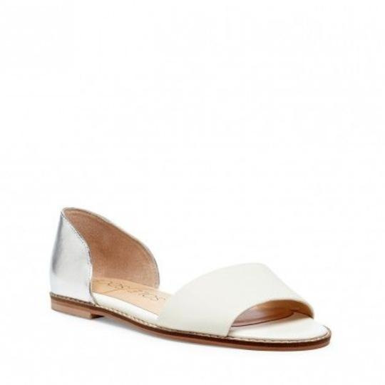 Sole Society Metallic Slide Leather White/ Silver Flats