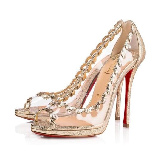 Preload https://img-static.tradesy.com/item/23680307/christian-louboutin-gold-hargaret-pvc-platine-peep-toe-stiletto-pumps-size-eu-39-approx-us-9-regular-0-0-540-540.jpg