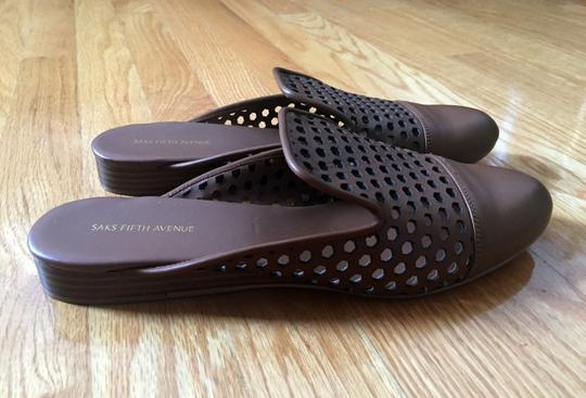 Saks Fifth Avenue Perforated Leather Dark Brown Mules