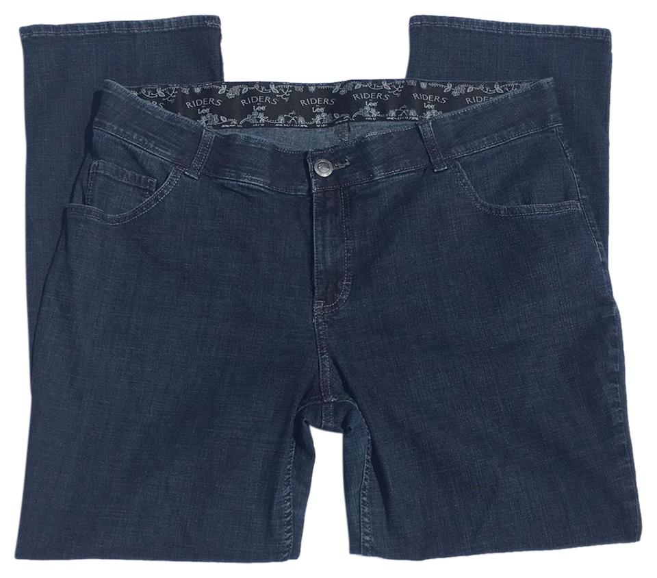e258be79084 Riders by Lee Blue Dark Rinse Midrise Embellished Pockets Elastic Waistband  16w M Boot Cut Jeans