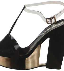 Chanel Black PVC with Golden wedge-bridge with little cc logo in the middle Wedges