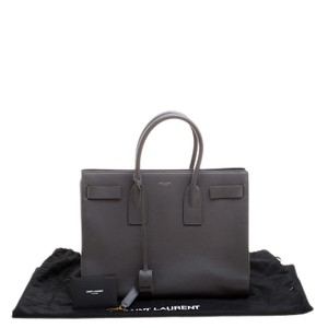Saint Laurent Leather Tote in Grey