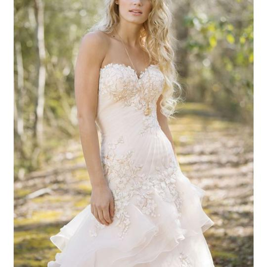 Justin Alexander Sand Tulle and Organza 6473 Feminine Wedding Dress Size 14 (L)