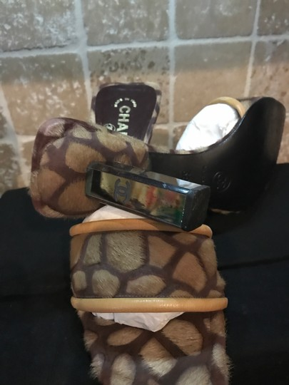 Chanel Authentic Ladies Chanel Pony Hair, calf skin, Brown Leopard Print Mule - Tan and Brown Sandals