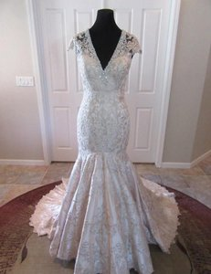 MADISON JAMES Champagne / Silver Lace and Satin Mj150 Feminine Wedding Dress Size 10 (M)