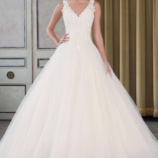 Justin Alexander Ivory/Light Gold Beaded Lace And Tulle