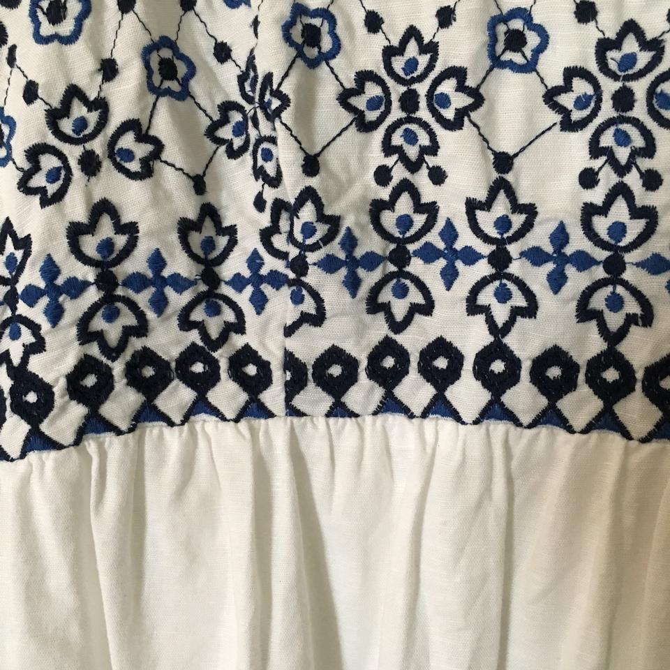 e6efe2af616 Ann Taylor LOFT White and Blue Embroidered Sundress Mid-length Short ...