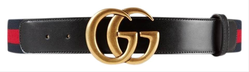 a4decfd6be8 Gucci Blue Red Gold Buckle Marmont Nylon Web with Double Belt - Tradesy
