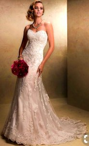 Maggie Sottero Light Gold Lace Emma Traditional Wedding Dress Size 10 (M)