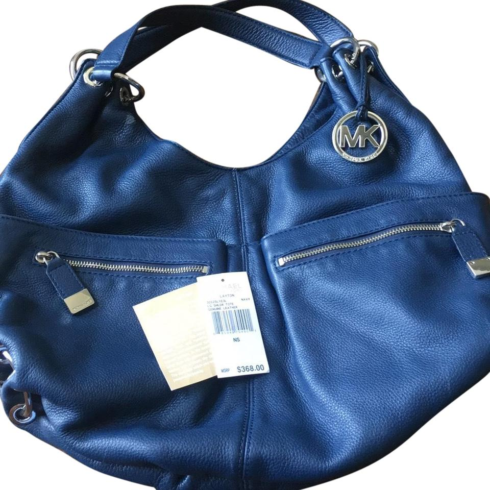 9c3d13afc9b4 Michael Kors Layton Navy Leather Hobo Bag - Tradesy