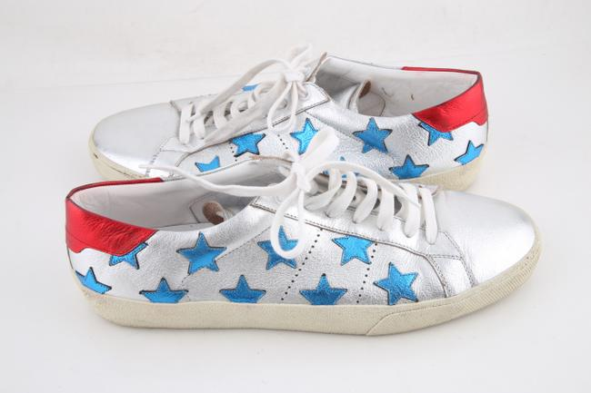 Item - * Blue/Red/Silver Signature California Appliqued Metallic Leather Sneakers Athletic Size US 11 Regular (M, B)