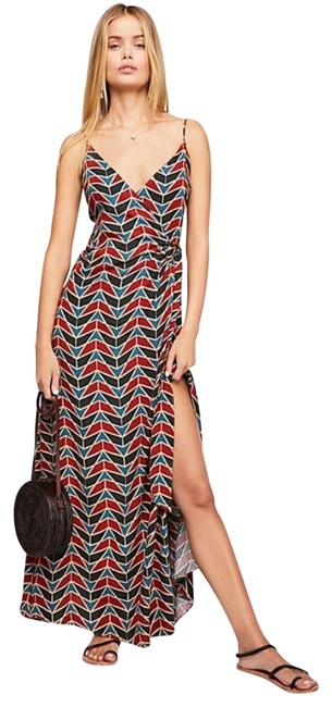 Item - Blue Red • Printed Wrap Long Casual Maxi Dress Size 6 (S)