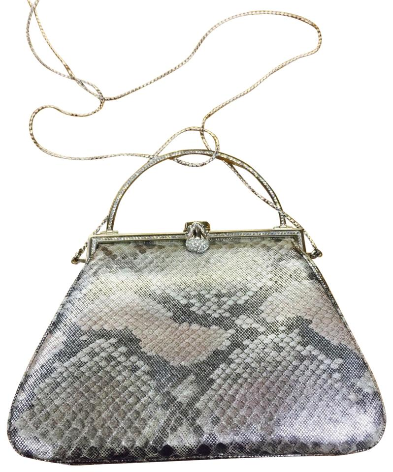 novel style good reputation choose clearance Judith Leiber Vintage Lieberman Small Handbag Grayish -beige Snakeskin  Leather Clutch 69% off retail