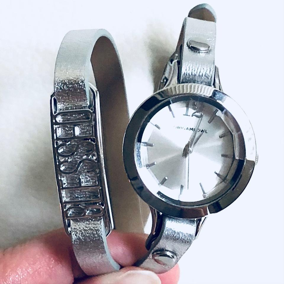 Origami Owl Silver Leather Blessed Double Wrap Watch Tradesy