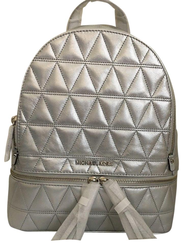 f8de13d8b96f Michael Kors Rhea Medium Top Zip School Travel (New with Tags) Silver  Quilted Leather Backpack