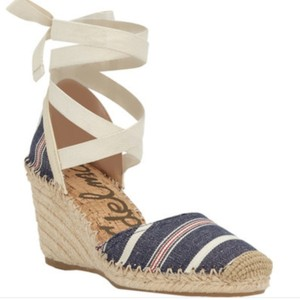 Sam Edelman Blue Multi/Modern Ivory Large Americana Stripe Fabric Wedges