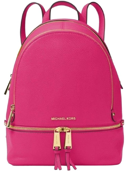 Item - Rhea Medium Top Zip School Travel (New with Tags) Ultra Pink/ Gold Hardware Leather Backpack