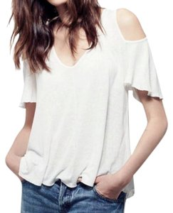 Free People V-neck Cold Shoulders Semi Sheer High Low Breezy Top Ivory