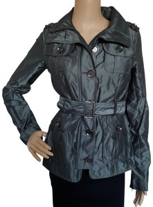 Burberry Metallic Quilted Belted Nova Check House Check Green, Silver Jacket