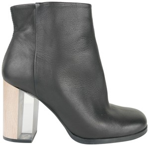 Miista Wood Clear Chunky Block Heels Leather Boots