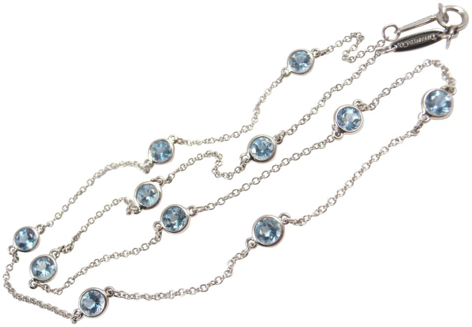 ae4386d17 Tiffany & Co. Elsa Peretti Platinum Aquamarine Color By The Yard Sprinkle  Necklace Image 0 ...