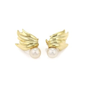 Tiffany & Co. Pearls 18k Gold Leaf Design Post Earrings