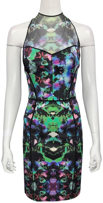 Item - Orchid Print 'mesh Racer Back' Abstract Sheath Mid-length Cocktail Dress Size 12 (L)