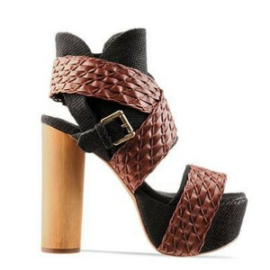 Jeffrey Campbell So Much Peep Toe Summer Bootie Wooden Heel Black and Brown Platforms