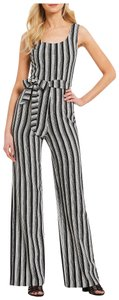Karl Lagerfeld Scoop Neckline Self-tie Sash Striped Print Wide Leg Crepe Material Dress
