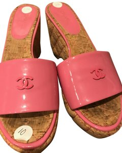 Chanel Authentic Chanel Platform Pink Patent Leather with waffle wedge Boots