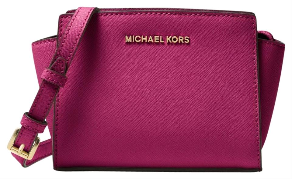 Michael Kors Selma Mini Saffiano Deep Pink Leather Cross Body Bag ... 7bdbe38a0b0e7