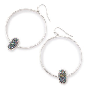 Kendra Scott Kendra Scott flora silver hoop earring in multi color drusy