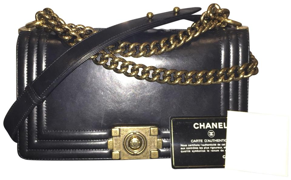 97ffdee62818 Chanel Boy Medium Brick Handbag Gold Hardware Cc Crossbody Black Calfskin  Leather Shoulder Bag