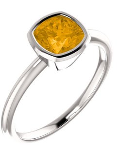 Apples of Gold ANTIQUE-SQUARE CITRINE BEZEL-SET RING IN STERLING SILVER